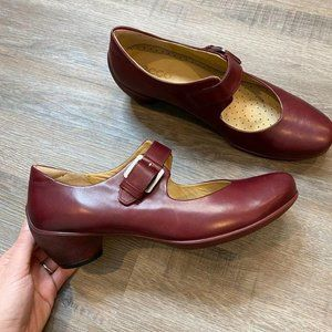 ECCO Mary Jane Buckle Low Heel Red Size 41